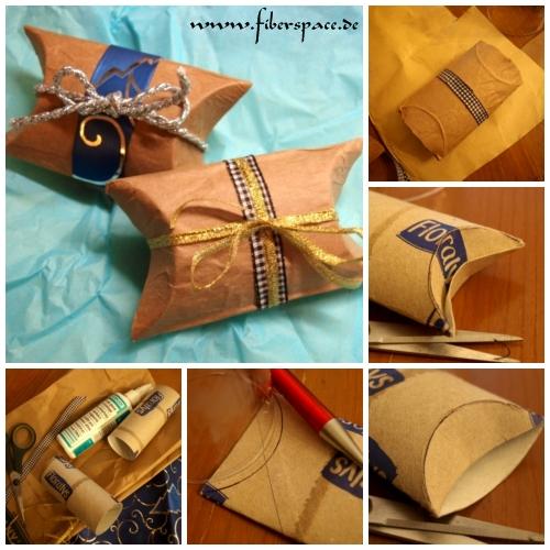 upcycling selbstgemachte geschenkverpackung pillow box aus toilettenpapierrollen fiberspace. Black Bedroom Furniture Sets. Home Design Ideas