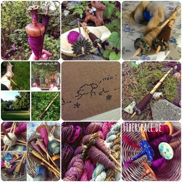 Tour de fleece 2015 - handgesponnene Garne und selbstgebaute Spindeln